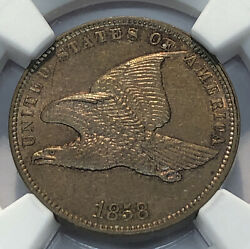 1858 Flying Eagle Cent Small Letters Ngc Ms 62