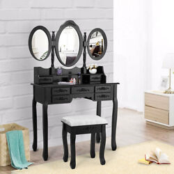 New Dressing Vanity Makeup Desk W/ Drawers Oval Mirror Set And Stool Black Table