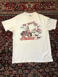 Vintage 90s Indian Motorcycle T Shirt Size Xl 90 Years Of Indian Made In Usa