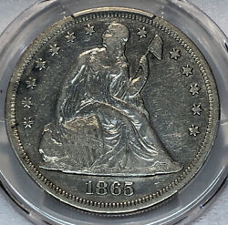 1865 Liberty Seated Silver Dollar Pcgs Vf 35