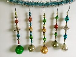 Vintage Christmas Mercury Glass Ornament Beaded Icicles Multicolor Lot Of 5 Ufo