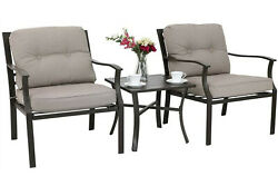 3pcs Patio Table Chairs Set End Table Chair With Padded Garden Outdoor Furniture