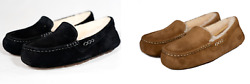 NEW UGG ANSLEY SLIPPER CHESTNUT BLACK WOMENS SUEDE SHEARLING AUTHENTIC FREE SHIP $62.99