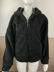 Wild Fable Womens Black Long Sleeve Zip Up Hooded Sherpa Jacket Size S M