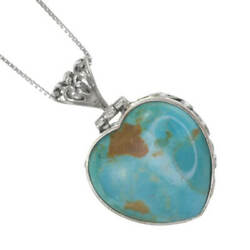 Gorgeous Sterling Silver Jewellery Large Double-sided Turquoise Heart Pendan...