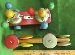 2 Very Old Wooden Pull Toys