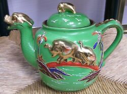 Vintage Teapot Made In Japan Hand Painted Dragon/elephant Gilded
