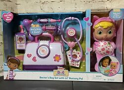 New Doc Mcstuffins Lil' Nursery Pal And Toy Hospital Doctor's Bag Set - Kitty