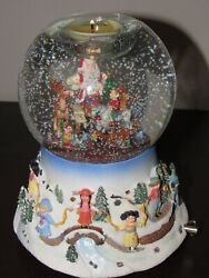 Partylite Snow Globe Santa At His Shop Musical Motion Snow Blower Candle Holder
