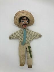 Vintage Paper Mache Mexico Mexican Wooden Clothed Hand Puppet Rare