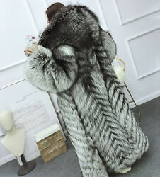 Women Real Silver Fox Fur Coat Jacket With Hooded Winter Warm Overcoat Outerwear