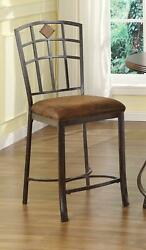 Set Of 2 Metal Counter Height Stools Padded Seat Rustic Industrial Style Chairs