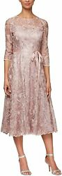Alex Evenings Womenand039s Tea Length Embroidered Dress With Illusion Sleeves