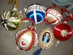 Vintage Push Pin Red Gold White Beaded Sequin Satin Balls Lot Christmas Ornament
