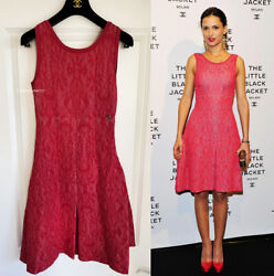 Nwt Gorgeous 13c Textured Red Pink Jacquard Knit Fit And Flare Dress 42