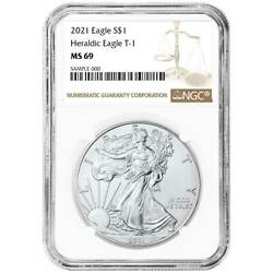 2021 1 Type 1 American Silver Eagle Ngc Ms69 Brown Label