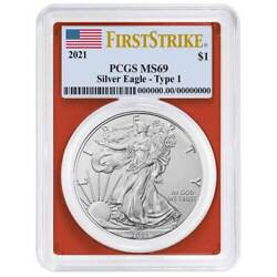 2021 1 Type 1 American Silver Eagle Pcgs Ms69 Fs Flag Label Red Frame