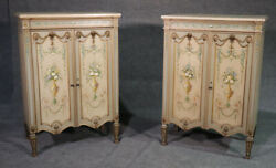 Pair Of Louis Xvi Paint Decorated Gilded Carved Side Cabinets Foyer Cabinets