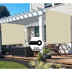 Waterproof Pergola Canopy Cover With Grommet Weight Rod For Patio Backyard-beige