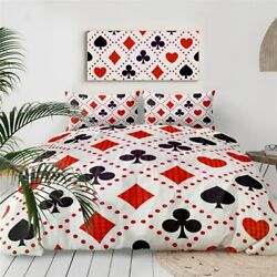 Poker Red Black Casino Game King Queen Twin Quilt Duvet Pillow Cover Bed Set