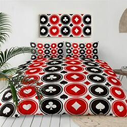 Poker Red Black Game Casino King Queen Twin Quilt Duvet Pillow Cover Bed Set