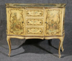 Italian-made Vernis Martin French Louis Xv Style Paint Decorated Buffet Commode