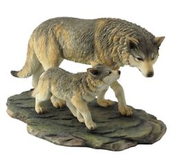 11 Wolf And Cub Nature Wildlife Animal Statue Collectible Wild Sculpture Wolves