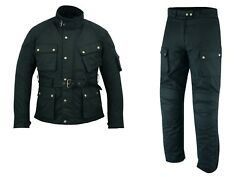 Warrior Classic Waxed Cotton Motorcycle Waterproof Armour Jacket Trouser Suit