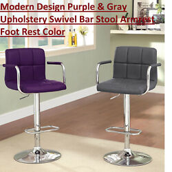 Modern Design Purple And Gray Color Upholstery Swivel Bar Stool Armrest Foot Rest