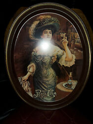 Antique Rare Pepsi-cola Oval Serving Tray Platter Lady Drinking Pepsi