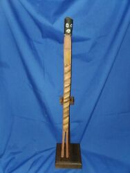 Aboriginal Australian Carved Happy Stick Wood Sculpture With Stand