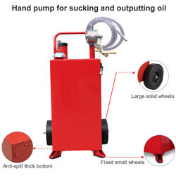Portable Rolling 30 Gallon Gas Caddy Fuel Diesel Transfer Container+rotary Pump