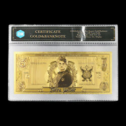 Harry Potter Gold Banknote Bills Money Note With Cover For Collection 1pcs