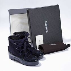 Women Ankle Boots Navy Nylon Lace Up Pull On Cc Logo Booties Size Eu 38