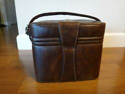 Vintage Brown Leather Camera Bag 5 1/2w X 10l X 8 1/2h - Made In Usa