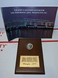 John F Kennedy Coin Plaque 1964 Half Dollar First Issue Full Silver Uncirculated