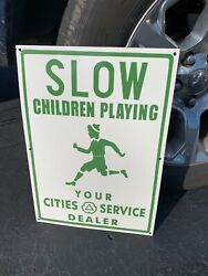 Cities Service/slow Childern Playing Heavy Porcelain Sign 20x 14 Near Mint