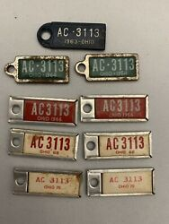 Vintage Lot Of 9 Oh Disabled Veterans Mini License Plate Key Tags Collection