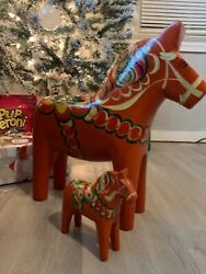 Vintage Authentic Swedish Dala Horses. Large 17 Inches Long 17 Inches Tall.andnbsp
