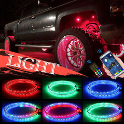 4x Ip68 Led Rgb Wheel Ring Lights Color Chasing Bluetooth App Controlled 15.5