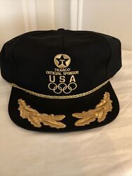 Texaco Official Usa Olympic Sponsor Adjustable Hat Gold Embroidery Rings Osfa