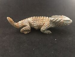 Zuni Horned Toad Lizard Fetish By Tony Mackel Signed Picasso Marble Cs8845