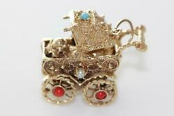 Vintage 14k Gold 3d Baby Stroller Carriage Charm Pendant Moveable Srone Solid