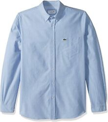 Lacoste Menand039s Long Sleeve Oxford Collar Regular Fit Woven Button Down Shirt