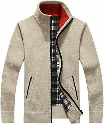 Yeokou Menand039s Casual Slim Full Zip Thick Knitted Cardigan Sweaters With Pockets