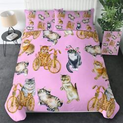 Pink Cat Bike Floral Animal Pet King Queen Twin Quilt Duvet Pillow Cover Bed Set