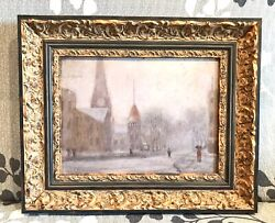 Antique Vintage Carl Petersen Swedish 1880-1939 Oil/panel Old Cityscape Painting