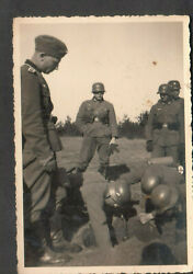 Germany German Wwii Photo- Soldiers In A Field Observing A Hole Being Dug