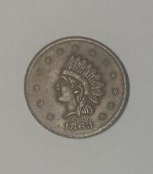 1863 Civil War Token Edward Miehlings Meat Market F630ax-2a Nice Even Brown