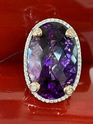 14k White Gold Huge 60carat Amethyst 1.25ct Diamond Cocktail Ring Size 8 Heavy
